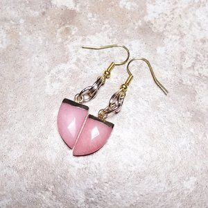Chic + Elegant! Small + Lightweight Danglers! Pink & Gold Statement Earrings